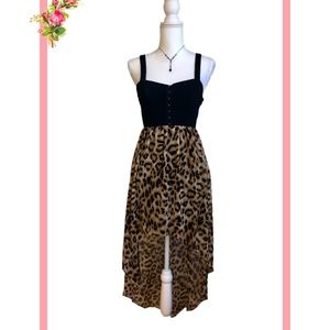 ❤️ Forever 21 Corset Animal Print High Low Dress S
